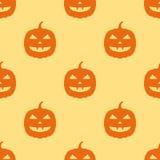 Modèle sans couture avec des potirons de Halloween sur le fond jaune illustration de vecteur