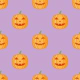 Modèle sans couture avec des potirons de Halloween sur le fond pourpre illustration stock