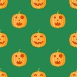 Modèle sans couture avec des potirons de Halloween sur le fond vert illustration stock