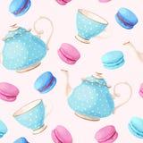 Modèle sans couture avec des pots et des tasses de thé Image stock