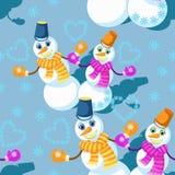 Modèle sans couture avec des quelques bonhomme de neige dans l'écharpe, mitaines, et Photo libre de droits
