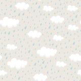 Modèle sans couture avec des rainclouds et des gouttes de pluie Photos stock