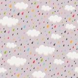 Modèle sans couture avec des rainclouds et des gouttes de pluie Photographie stock libre de droits