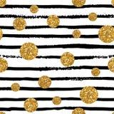 Modèle sans couture avec des rayures et des points d'or Photos libres de droits
