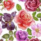 Modèle sans couture avec des roses de dessin d'aquarelle Image stock