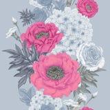 Modèle sans couture avec des roses de fleurs, pivoines, hortensias illustration de vecteur