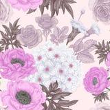 Modèle sans couture avec des roses de fleurs, pivoines, hortensias illustration stock