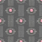 Modèle sans couture avec des roses de fleurs sur le fond gris Photo stock