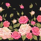 Modèle sans couture avec des roses de vintage Rétros fleurs décoratives Facile à utiliser pour le contexte, textile, papier d'emb Photos stock