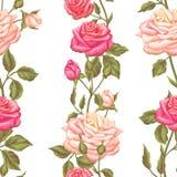 Modèle sans couture avec des roses de vintage Rétros fleurs décoratives Facile à utiliser pour le contexte, textile, papier d'emb Images stock