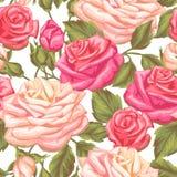 Modèle sans couture avec des roses de vintage Rétros fleurs décoratives Facile à utiliser pour le contexte, textile, papier d'emb Photos libres de droits