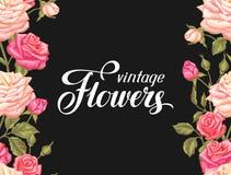 Modèle sans couture avec des roses de vintage Rétros fleurs décoratives Facile à utiliser pour le contexte, textile, papier d'emb Images libres de droits
