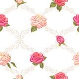 Modèle sans couture avec des roses de vintage Rétros fleurs décoratives Facile à utiliser pour le contexte, textile, papier d'emb Photographie stock libre de droits