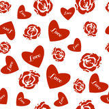 Modèle sans couture avec des roses et des coeurs illustration stock