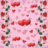 Modèle sans couture avec des roses et des coeurs pour la Saint-Valentin illustration de vecteur