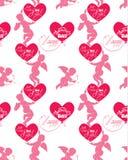 Modèle sans couture avec des silhouettes d'ange et de coeur, calligraph Images libres de droits