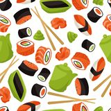 Modèle sans couture avec des sushi Photo libre de droits