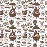Modèle sans couture avec des symboles de grill Gril, BBQ, viande fraîche Concevez l'élément pour l'affiche, menu, insecte, banniè Image stock