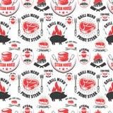 Modèle sans couture avec des symboles de grill Gril, BBQ, viande fraîche Concevez l'élément pour l'affiche, menu, insecte, banniè Photographie stock