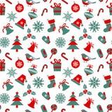Modèle sans couture avec des symboles de Noël Images libres de droits