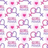 Modèle sans couture avec des symboles lesbiens et féministes Image libre de droits
