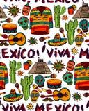 Modèle sans couture avec des symboles mexicains Photo stock