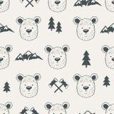 Modèle sans couture avec des têtes d'ours Image libre de droits