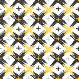 Modèle sans couture avec des textures croisées jaunes et noires grunges Fond de hippie de mode Vecteur pour le Web, copie, tissu, Photos stock