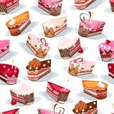 Modèle sans couture avec des tranches de gâteau Images stock