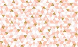 Modèle sans couture avec des triangles d'or de scintillement Photos libres de droits