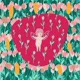 Modèle sans couture avec des tulipes et l'ange de bouquet illustration libre de droits