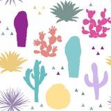 Modèle sans couture avec des usines de cactus Illustration de vecteur Illustration Stock