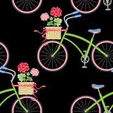 Modèle sans couture avec des vélos de hippie illustration de vecteur