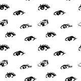 Modèle sans couture avec des yeux au beurre noir sur le fond blanc dans le style grunge, vraie impression tramée Images libres de droits
