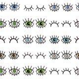 Modèle sans couture avec des yeux sur un fond blanc Fond de Bohème de style pour la conception La copie abstraite d'ouvert et fer Image stock
