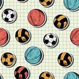 Modèle sans couture avec différentes boules tirées par la main de sport Photographie stock libre de droits