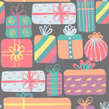 Modèle sans couture avec différents boîte-cadeau Conception mignonne Présents créatifs colorés Image stock