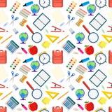 Modèle sans couture avec différents objets d'école illustration de vecteur