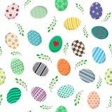 Modèle sans couture avec différents oeufs de pâques et branches vertes sur le blanc Perfectionnez pour le papier d'emballage, pap illustration de vecteur