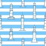 Modèle sans couture avec différents phares dessinés avec des courbes de niveau sur le fond rayé Contexte avec des tours pour Photo stock