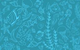 Modèle sans couture avec différents poissons tropicaux Photos libres de droits