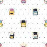 Modèle sans couture avec différents sacs d'école mignons illustration stock