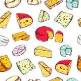 Modèle sans couture avec différents types de fromage Vecteur tiré par la main Illustration de Vecteur