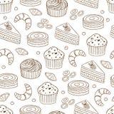 Modèle sans couture avec différents types de gâteaux images libres de droits