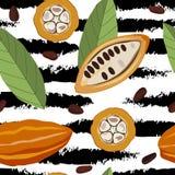 Modèle sans couture avec du cacao Photographie stock