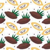 Modèle sans couture avec du cacao ou l'arbre de chocolat pour emballer, conception de menu illustration stock