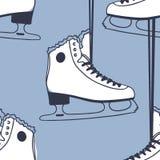 Modèle sans couture avec emballer des patins Illustration tirée par la main de mode Oeuvre d'art créative bleue d'encre Backgr co illustration stock