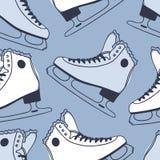 Modèle sans couture avec emballer des patins Illustration tirée par la main de mode Oeuvre d'art créative bleue d'encre Backgr co illustration de vecteur
