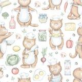 Modèle sans couture avec faire cuire des chats et des produits d'épicerie illustration stock