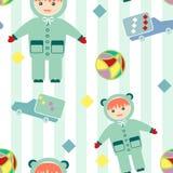 Modèle sans couture avec fond de conception d'articles de bébé le rétro Image stock